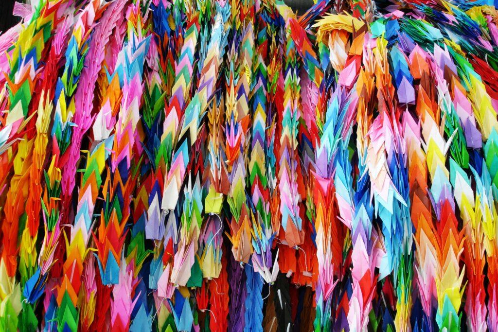 Colorful origami tsuru