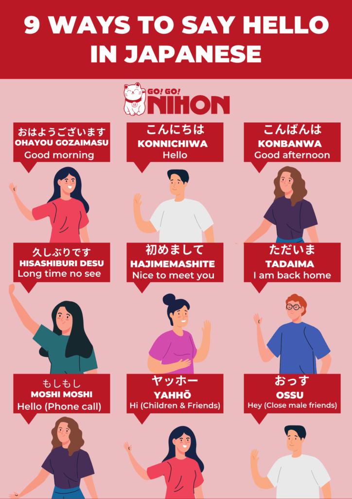 9 greetings in Japanese