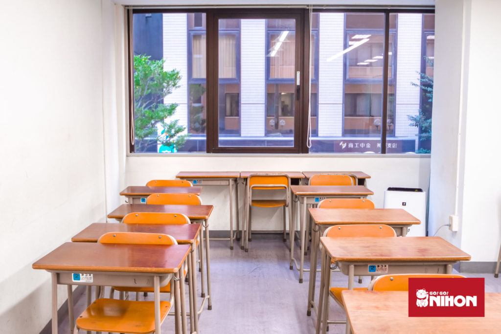 Desks in a classroom at school