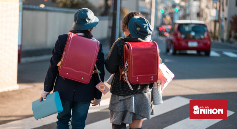 Students walking with backpacks