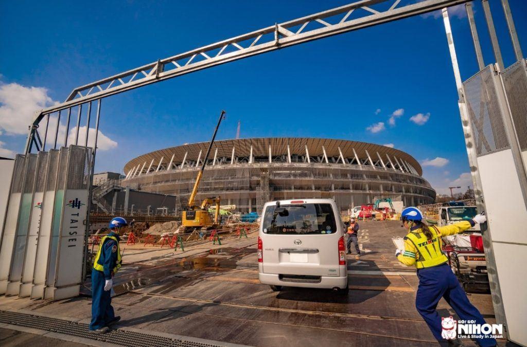 Byggnadsarbete för att förbereda inför OS i Tokyo 2020