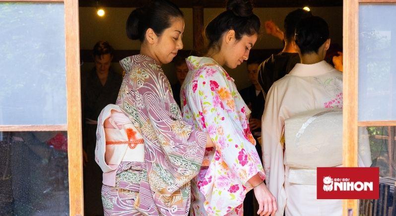 student getting dressed in yukata