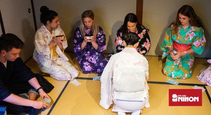 students at tea ceremony