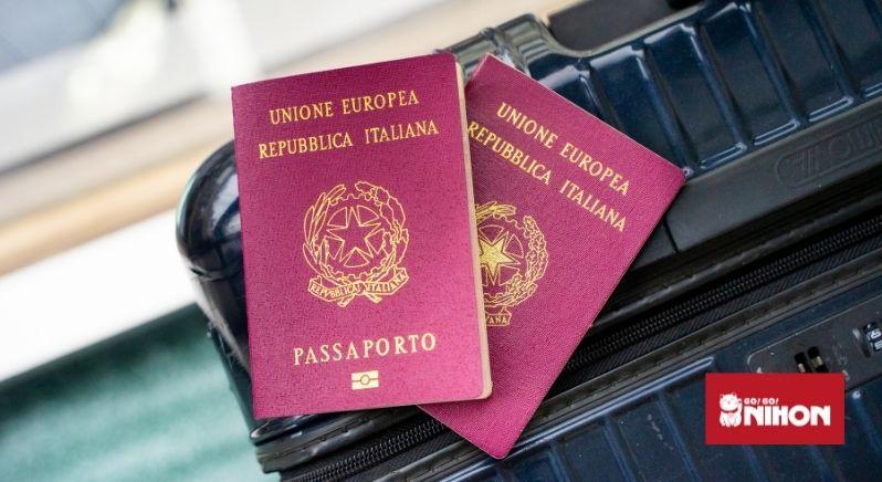 Passports on suitcase