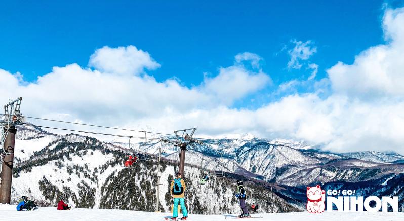 Skiiers at Happo One ski resort in Nagano