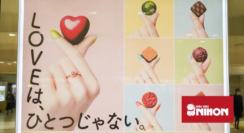 Poster en Japón con chocolates