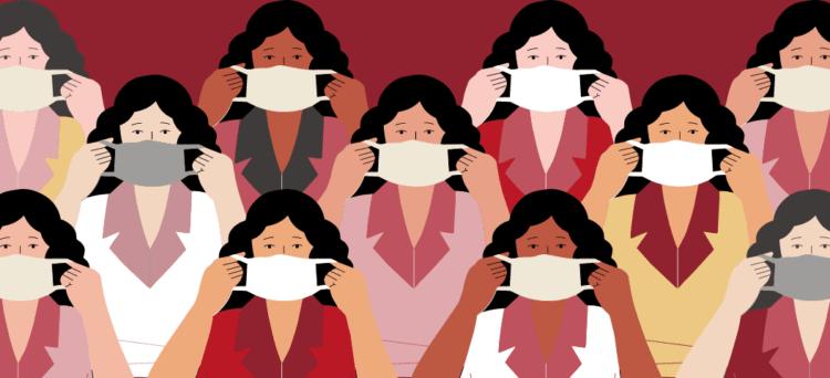 ilustación gente usando mascarilla